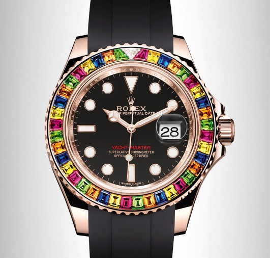 Replica horloges China Rolex Yacht Master 18k Rose Gold with Custom Multicolor Gem Set Bezel 116555